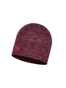 Buff Wool Hat Midweight - shale grey multi stripes
