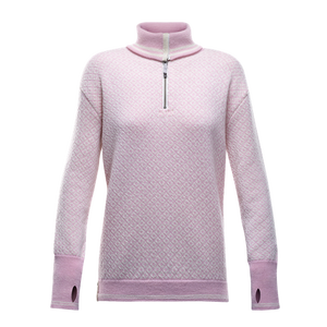 Devold Slogen Woman Zip neck pink/offwhite